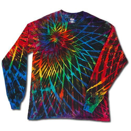 2dye4 tie dyed black rainbow spirograph long sleeve hand for Tie dye t shirt patterns