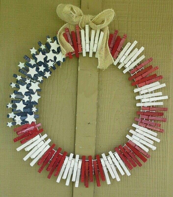 Clothespin wreath July fourth