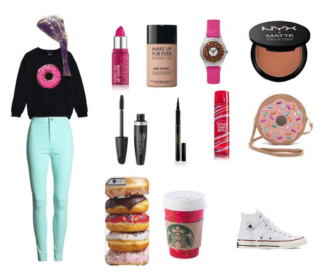 """My Donut OOTD"" by glittergirl04 ❤ liked on Polyvore featuring MAKE UP FOR EVER, NYX, Rossetto, Max Factor, Elizabeth Arden, Patricia Chang and Converse"
