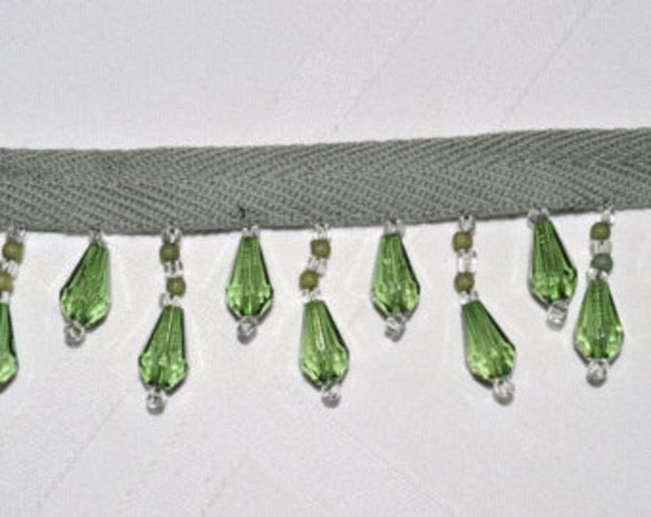 Green Bead Trim Beads are 1 Inches long From The Green Ribbon, Sold by the yard #Unbranded