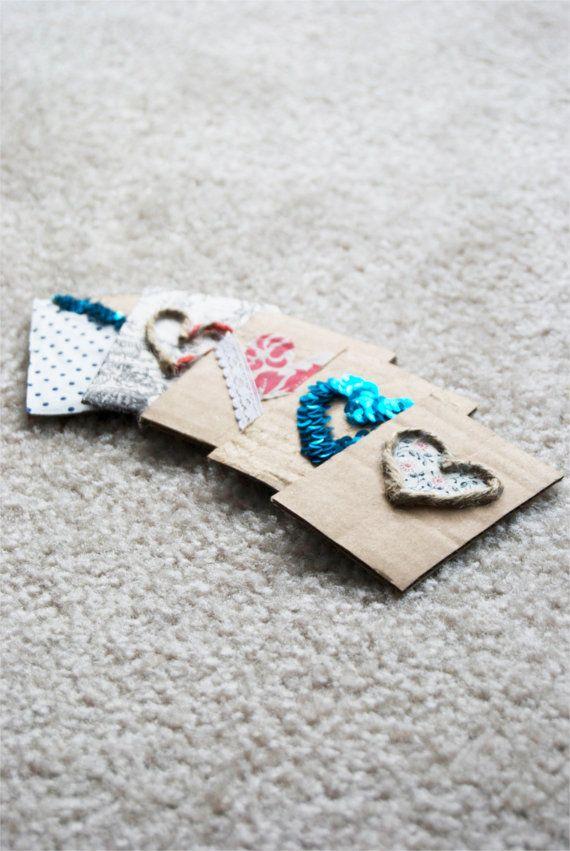 Handmade valentine's cards with fabric scraps