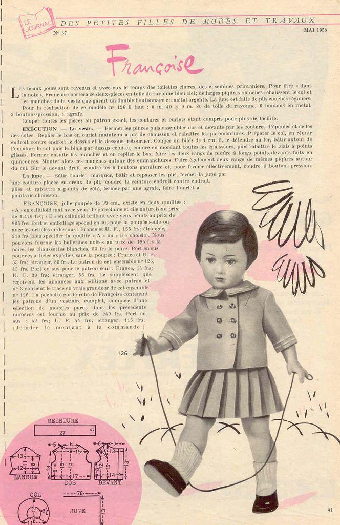 Patron poupée Modes et Travaux mai 1956                                                                                                                                                      Plus