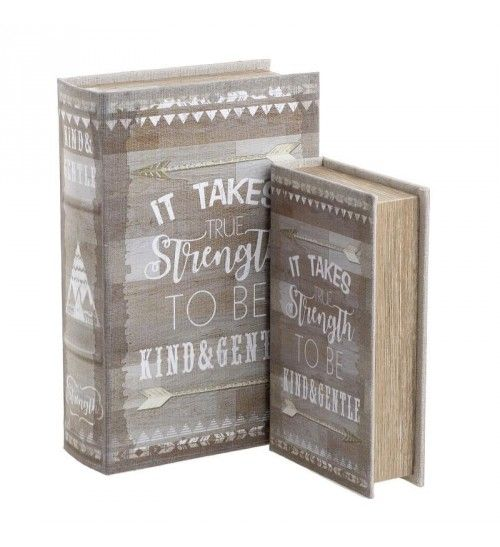S_2 WOODEN BOX_BOOK 'STRENGHT' BEIGE_GREY 18X7X27