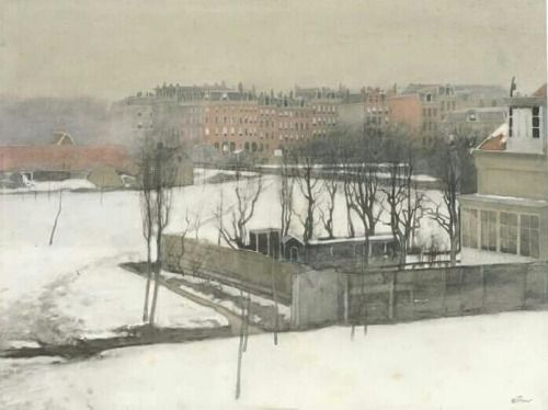 View of Oosterpark in the Snow., Amsterdam - Willem A. Witsen Dutch, 1860-1923 Watercolour