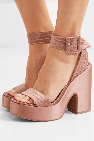 Heel measures approximately 125mm/ 5 inches with a 35mm/ 1.5 inches platform Blush satin Buckle-fastening ankle strap Designer color: Bisque  ImportedSmall to size. See Size & Fit notes