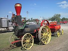Influence - The first powered farm implements in the early 19th century were portable engines – steam engines on wheels that could be used to drive mechanical farm machinery by way of a flexible belt. Around 1850, the first traction engines were developed from these, and were widely adopted for agricultural use (Wikipedia, 2012)