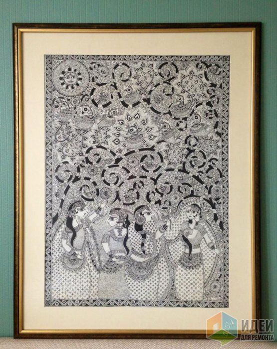 My madhubani *Tree of Life*; ink, hand-made paper; 50x70.