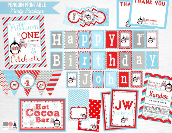 Red Blue Penguin Birthday Party Printable Package YOU PRINT Boy Winter Penguin Party  This is an example of what we can do, if you want to