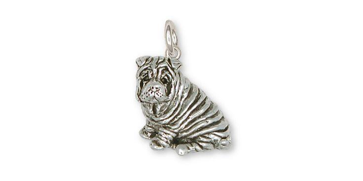 Shar Pei Charm Jewelry Sterling Silver Handmade Dog Charm SHP1-C. This is hand made when ordered. 30 Day Money Back Guarantee.