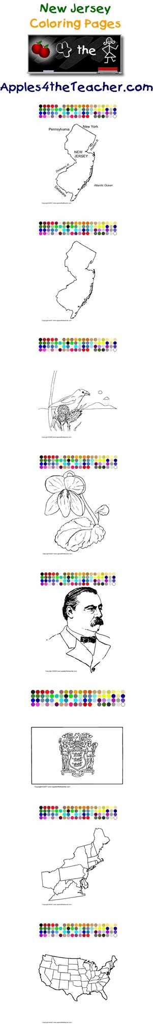 Printable interactive U.S. State coloring pages, New Jersey coloring pages for kids.