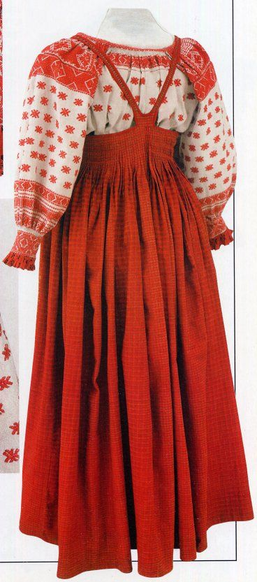 I like the embroidered shirt and the back of the Sarafan. FolkCostume: The 5 types of Russian folk Costume (worth checking out the rest of the article)