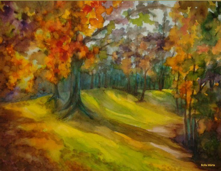 Colors of autumn - Az ősz szinei  - Aquarelle - 30 x 40 cm -By Márta Bolla -  Hungary
