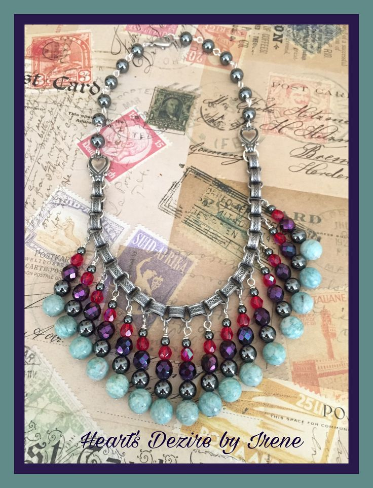 FUF 11/11/16.  Haskell Style Bibb Necklace. Neckchain made up of Silverware Silverplate book chain, spoon connectors and hematite beads and beads in color palette for Nov/Dec. Heart's Dezire by Irene