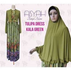 Busana Muslim - Kala Green Tulipa Dress