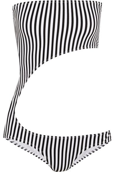Norma Kamali - Striped Cutout Bandeau Swimsuit - Black - small