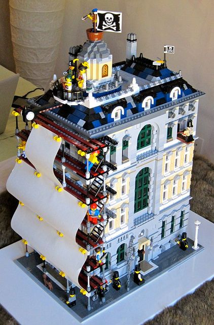 Crimson Permanent Assurance (from Monty Python's The Meaning of Life) in Legos.