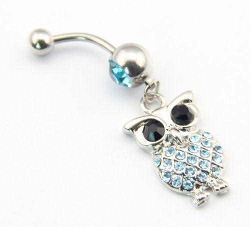 316L Stainless Steel 14G Blue Crystal Cute Retro Owl Bird Dangle Navel Ring Belly Bar Stud Ball Barbell Body Piercing Kit Girl's Gift