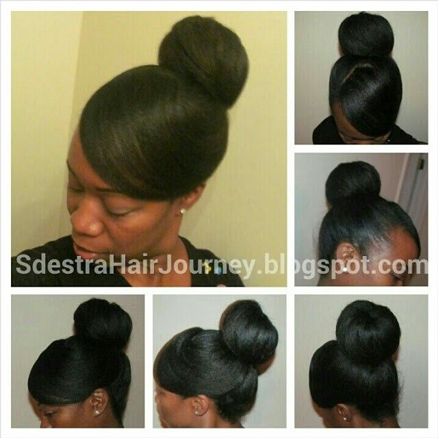 With Air Dried Hair Swept Bang High Bun No Gel Used