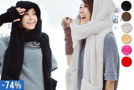 Sjaal-muts en handverwarmer in één! Fluffy winter accessoire 3-in-1 nu €8,95 #sjaal #muts #hanschoenen #koud