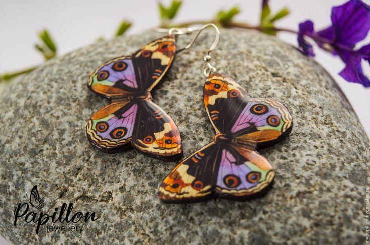 Купить Серьги Бабочки разноцветные - комбинированный, серьги ручной работы…