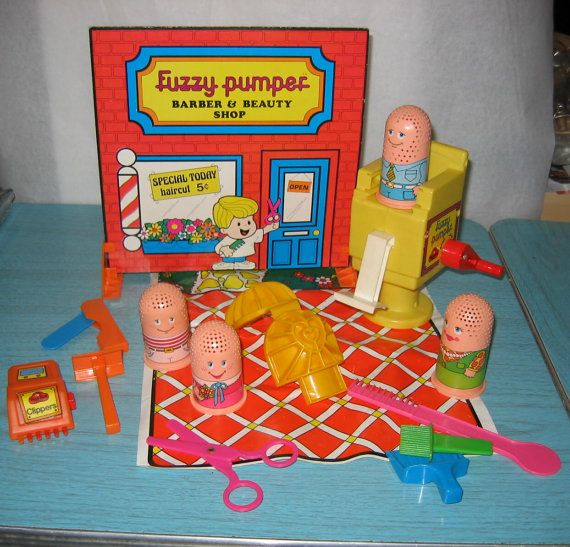 Vintage PlayDoh Fuzzy Pumper Barber & Beauty Shop