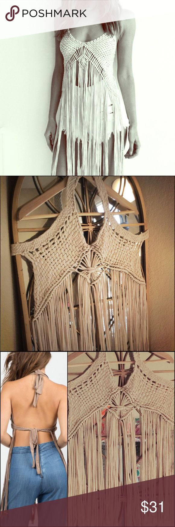 Macrame crochet hippie fringe halter top m / L Like New. Beautiful macrame braided halter top. Ties at neck and back. Crochet like top with long fringe. Fits M/L. Tops