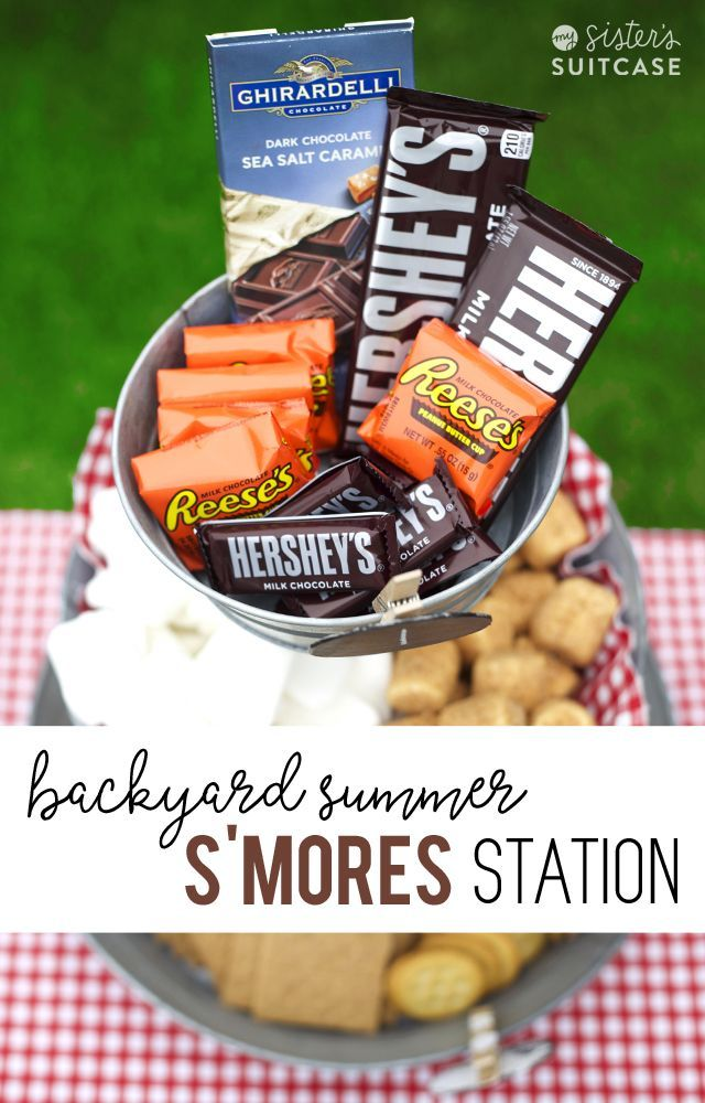 Backyard S'mores Station - easy ideas to throw together a S'mores bar for summer parties.