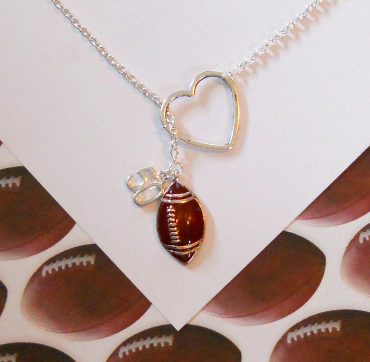 Football Necklace with Heart and Number, handmade jewelry. $22.50, via Etsy.