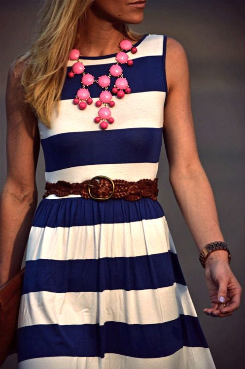 stripes!Colors Combos, Nautical Stripes, Statement Necklaces, Navy Stripes, Outfit, Bubbles Necklaces, The Dresses, Bubble Necklaces, Stripes Dresses
