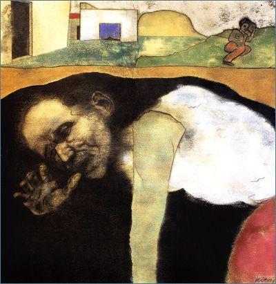 R.B. Kitaj | The Listener (Joe Singer in Hiding)
