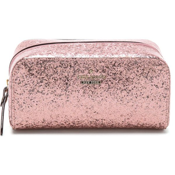 Kate Spade New York Glitter Bug Ezra Cosmetic Case ($48) ❤ liked on Polyvore featuring beauty products, beauty accessories, bags & cases, rose, wash bag, travel bag, glitter cosmetic bag, kate spade makeup bag and cosmetic bags & cases