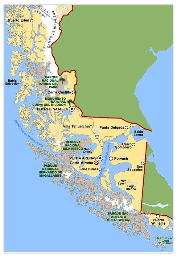 El mapa del region de Patagonia/Tierra del fuego.  Patagonia/Tierra del fuego es lugar en el sur de Chile y Argentine. -Joe Cardone