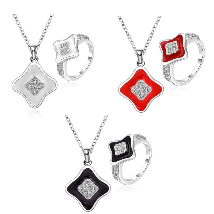 Hot Sell Silver Plated Jewelry Set,Wedding Jewelry Accessories,3 Colors Geometry Fashion Silver Necklace Ring For Women