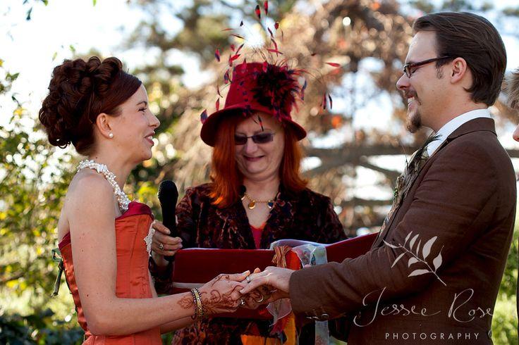 Dale & Christopher @ Jessie Rose Photography, autumn, wedding, bride, groom, love, diy, silk, orange, ring, exchange, ceremony