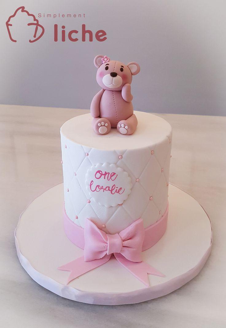 Wondrous Teddy Bear First Birthday Girl Cake With Images Teddy Bear Funny Birthday Cards Online Barepcheapnameinfo