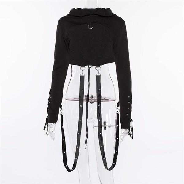 BYWX Women Fashion Gothic Bandage Punk Cut Out Pullover Hoodie Sweatshirt