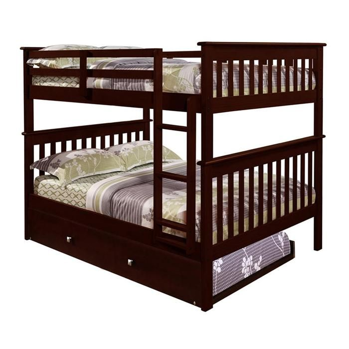 Full over Full Mission Bunk Bed with Trundle in Dark Cappuccino   Nebraska Furniture Mart