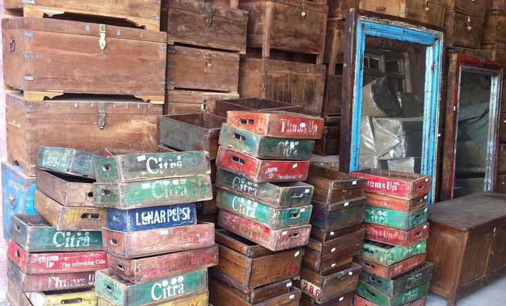 Vintage soda crates, boxes and chests.  Furniture restoration by Scaramanga