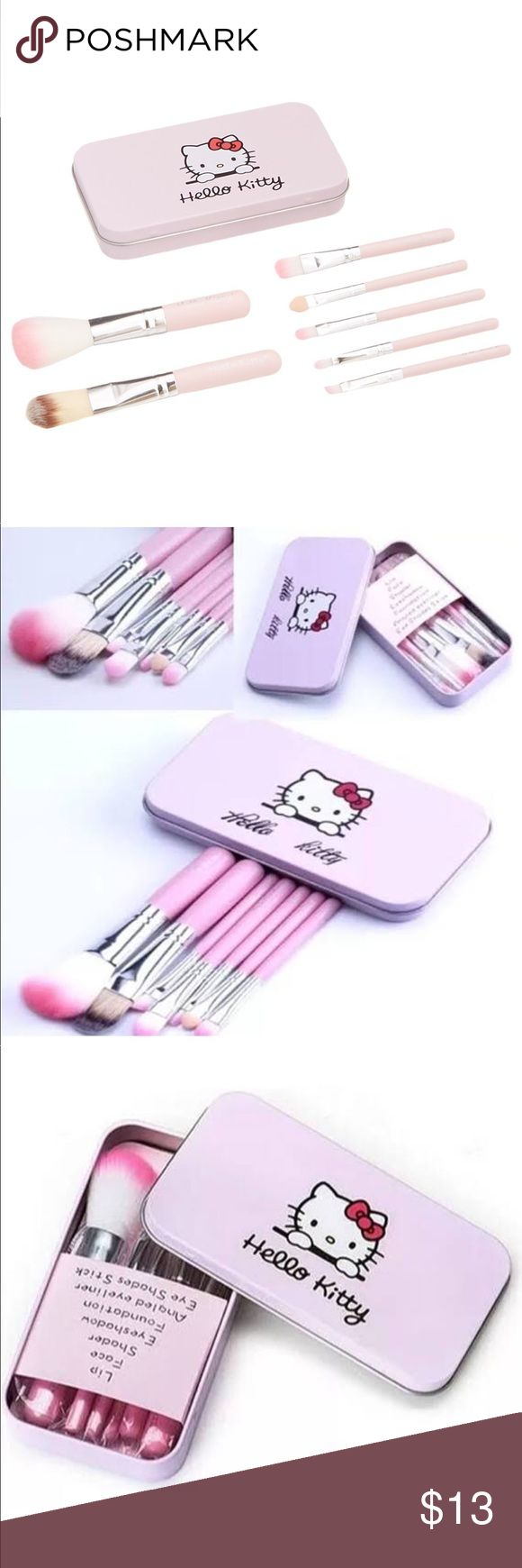 Hello kitty make up brushes  Hello kitty make up brushes  Baby pink color comes with tin box for traveling   Hello Kitty Makeup Brushes & Tools