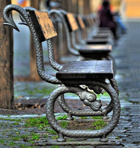 """coolkenack: """" Cool benches in Praque from the fabulous weird trotters on facebook.com """""""
