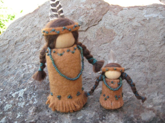 Native American wood & felt peg dolls