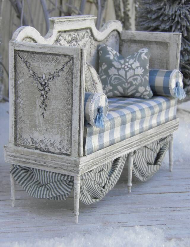 """French settee taupe and soft blue""""Miniature pieces) __A full scale life size DIY…"""