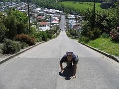 Baldwin Street, Dunedin, New Zealand. The world's steepest street. I always have nightmares about driving on really steep streets and falling backwards. Yikes.