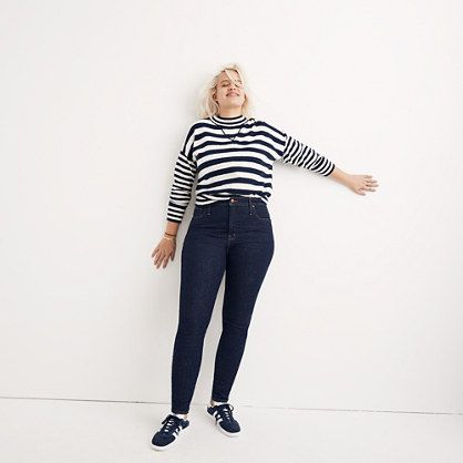 This model makes me happy. Nice work Madewell. - Curvy High-Rise Skinny Jeans in Lucille Wash