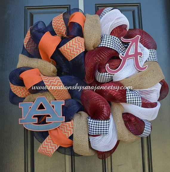 House Divided Auburn and Alabama Wreath by CreationsbySaraJane