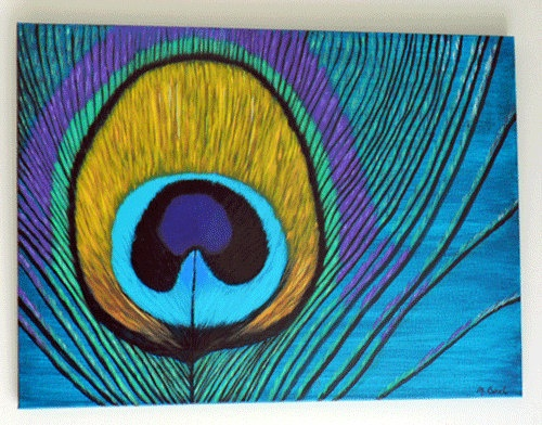 Peacock feather acrylic painting on canvas by for Easy peacock paintings