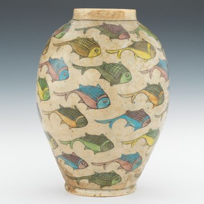 Persian Style Pottery Vase with Fish, ca. early 20th Century