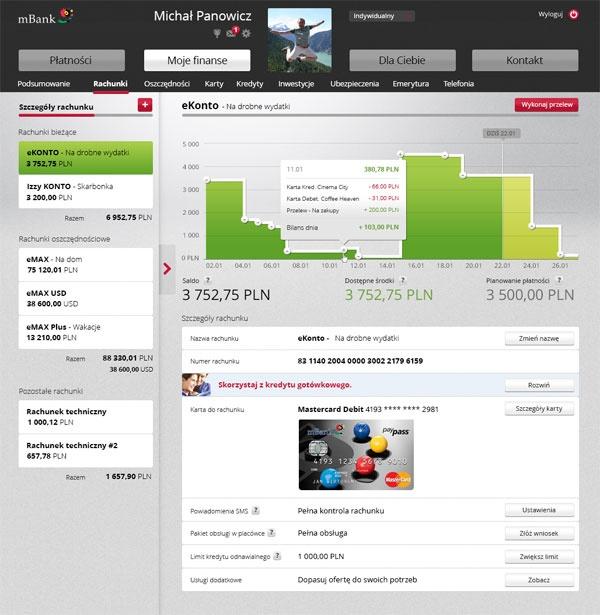 Serwis transakcyjny nowego mBanku - odchodzimy od tabel na rzecz przejrzystości, estetyki i funkcjonalności