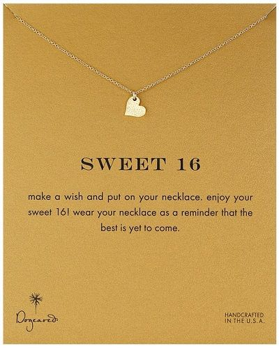 "Dogeared ""Reminders"" Sweet 16 Sparkle Heart Pendant Necklace. Best 16th Birthday Gifts For Teen Girls"