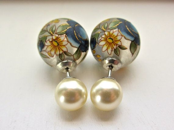 Frost Floral Double Pearl Earrings, Tribal Pearl Double Sided Earring, Double Stud Front Back Earrings, Flower Pearl Fake Gauges, Fake Plugs